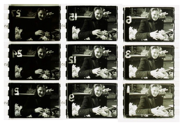 Cinex strip from 'A Portrait of Dublin' showing different exposures of the one image. From the Liam O'Leary Archive: MS 50,000/77/209